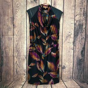 Ellen Tracy Sheath Dress L Pleather Cap Sleeve Blk